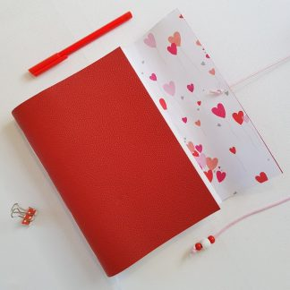 Heart Journal bound in Red Leather, A5 size, Mallory Journals