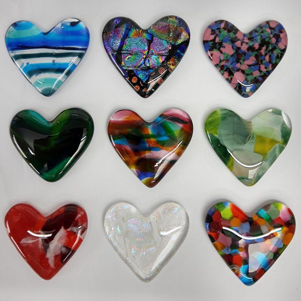 Multicoloured Fused glass hearts