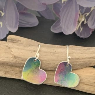 rainbow aluminium heart earrings