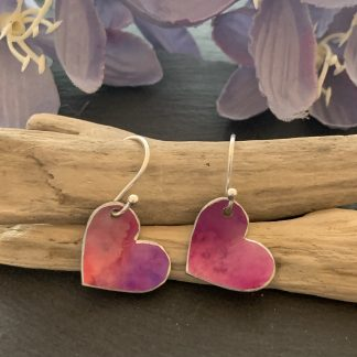 cerise pink heart earrings