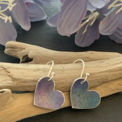 blue aluminium heart earrings