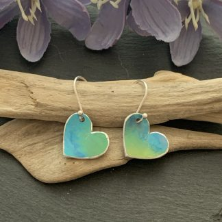 Turquoise and blue heart earrings
