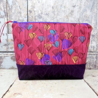 Cerise and purple make up bag