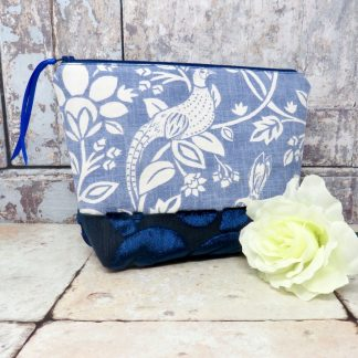 Blue makeup bag