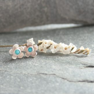 Turquoise and silver flower earrings by Thistledown Wishes