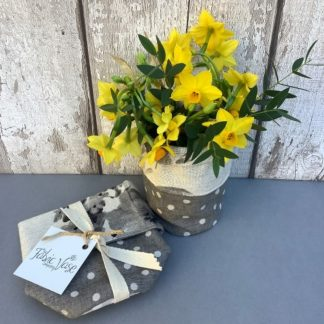 Grey Spots and Floral Fabric Vase