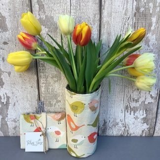 Bird print cotton fabric vase