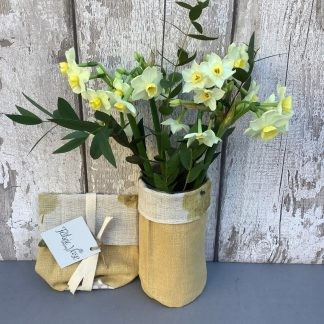 Yellow Linen Floral fabric vase
