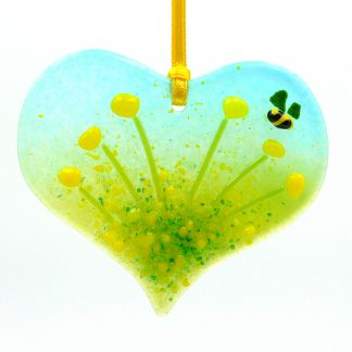 Heart shaped yellow flowers fused glass light catcher with bee