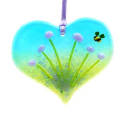 Heart shaped violet purple flowers fused glass light catcher with bee