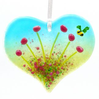 Heart shaped pink flowers fused glass light catcher with bee
