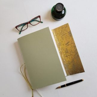 Lichen Green Leather Journal with Gold Leather Lining, A5, Mallory Journals