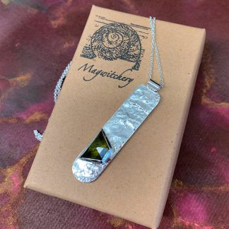Reticulated Sterling Silver Green Tourmaline Pendant - Magwitchery