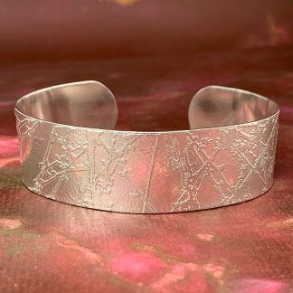 Magwitchery Etched Silver Sterling Cuff Bracelet 2cm Cherry Tree