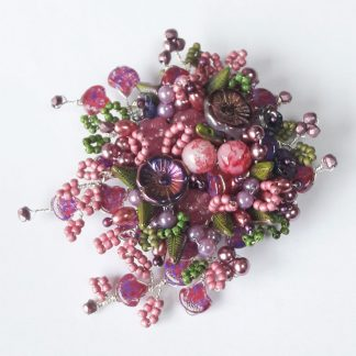 Heather pink green floral beaded brooch gift