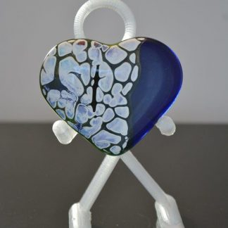 Midnight blue and white fused glass heart