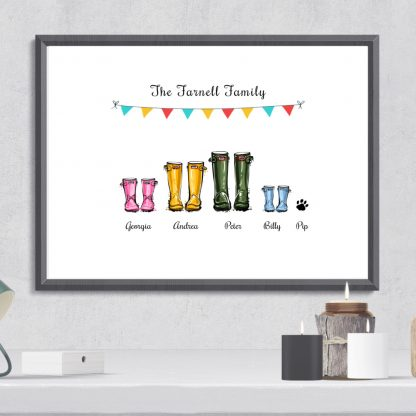 Personalised family welly boots print gift