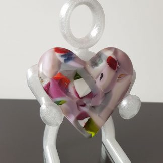 Pink multicoloured fused glass heart