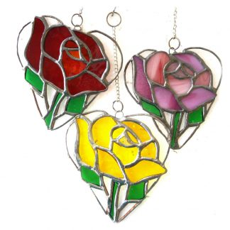 rose heart suncatcher stained glass