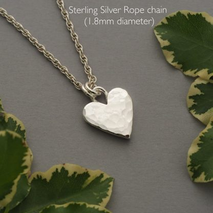 Hammered sterling silver heart pendant necklace