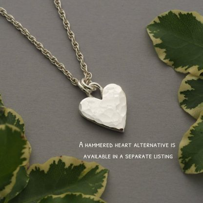 Hammered sterling silver heart pendant on rope chain