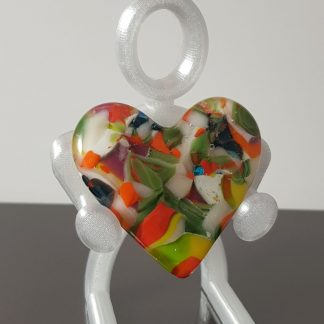 Spring green fused glass heart
