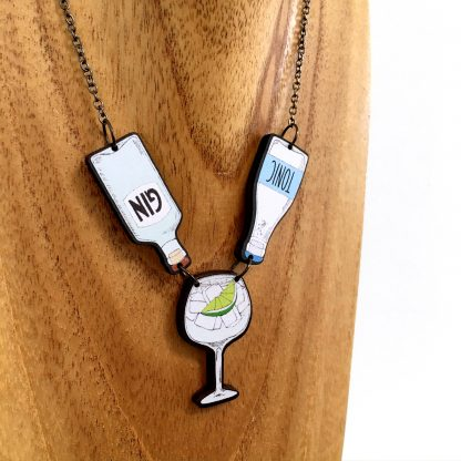 Gin and tonic bottle statement necklace