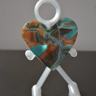 Fused glass heart - teal, orange and brown tones