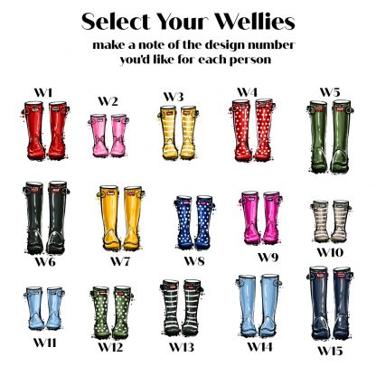 personalised family welly boot frame welly boot choices