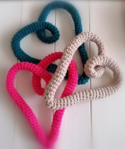 croheted wire heart decorations