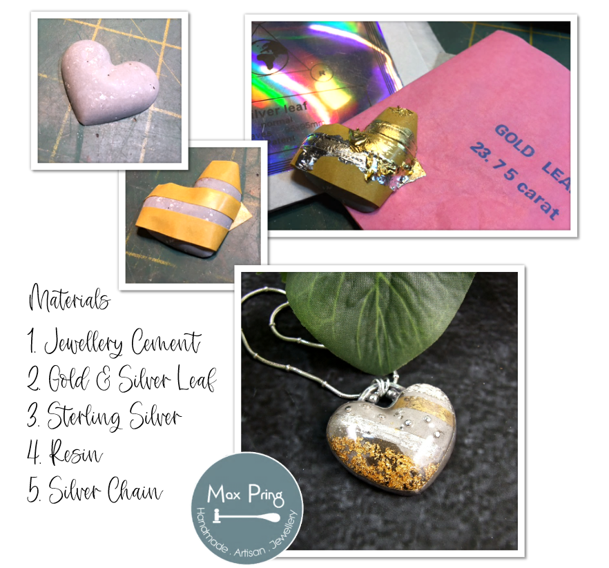Cement Silver and Gold Heart Necklace