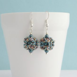 Metallic Teal and Copper beaded ball dangle earrings