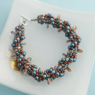 Copper and Teal beaded bracelet