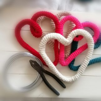 crocheted wire heart