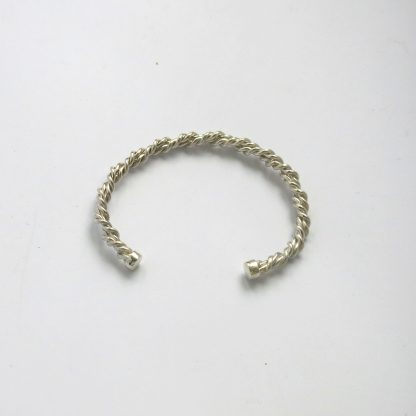 Twisted silver wire bangle