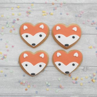 fox face heart shaped cookies