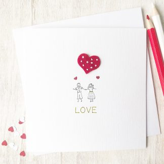 Handmade, personalised mini couple love card, Valentine's, Anniversary