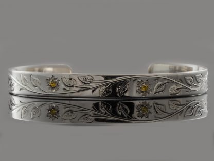 Handmade Sterling Silver Cuff Bracelet with Hand Engraved Flower Pattern