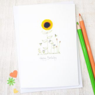 Handmade Felt Sunflower Birthday Card