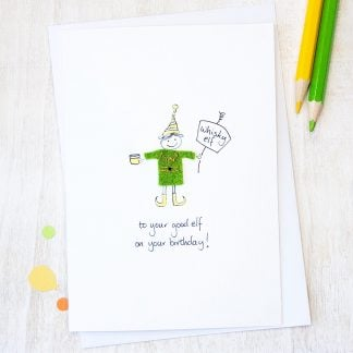 Handmade Whisky Elf Birthday Card