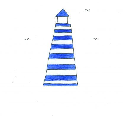 hand drawn and coloured lighthouse