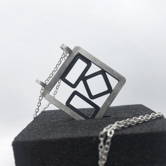 Oxidised Silver Pendant Necklace is displayed on the black foam block.