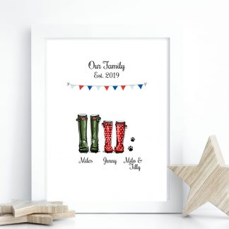 personalised couple welly boot gift print