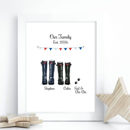 personalised gay couple welly boot gift print