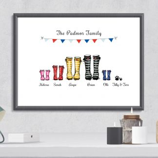 personalised family welly boot gift print