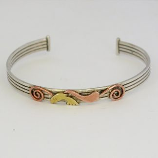 silver,copper and brass fish bangle