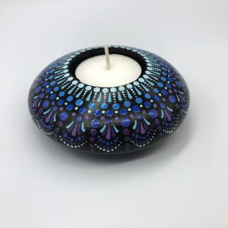 graduated colour small round tea light holder blue colour way side view