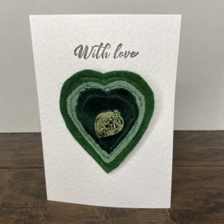 Valentine's Day Heart Brooch (Green) and Greetings Card.