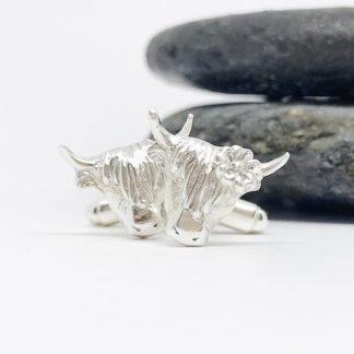 silver highland cow cufflinks