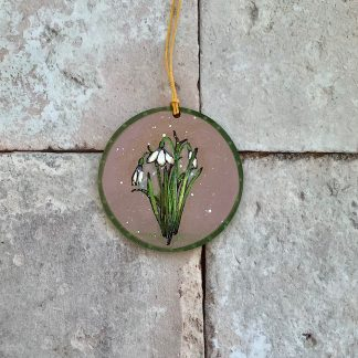 Painted snowdrop on wood round